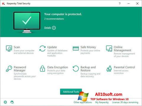 Capture d'écran Kaspersky Total Security pour Windows 10