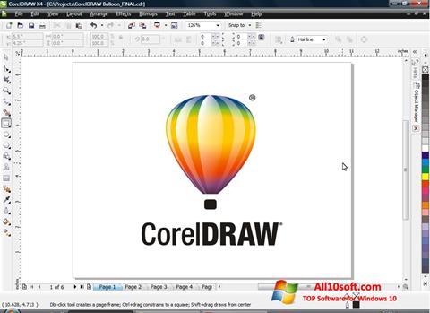 Capture d'écran CorelDRAW pour Windows 10
