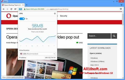 Capture d'écran Opera pour Windows 10
