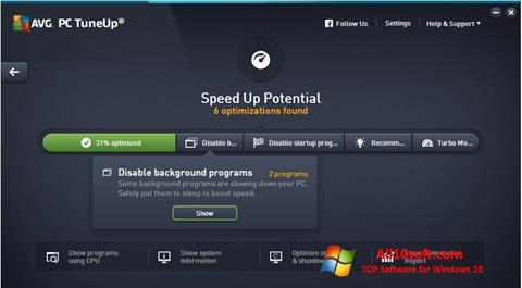 Capture d'écran AVG PC Tuneup pour Windows 10