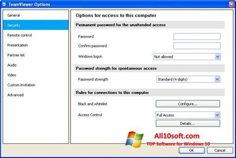 Capture d'écran TeamViewer pour Windows 10