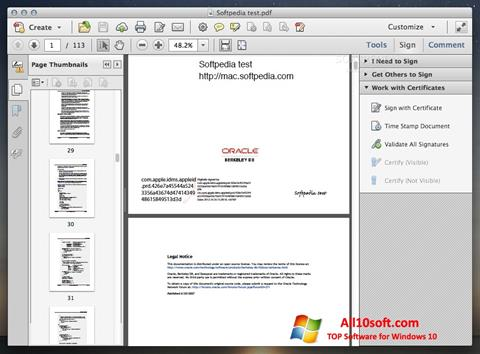 Capture d'écran Adobe Acrobat pour Windows 10