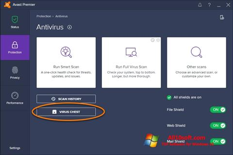 Capture d'écran Avast pour Windows 10