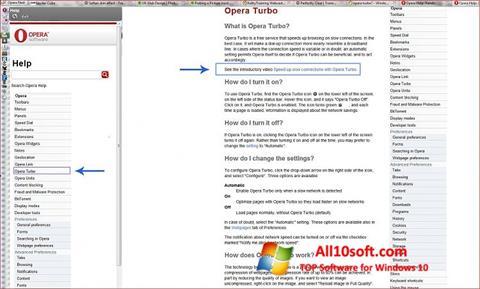 Capture d'écran Opera Turbo pour Windows 10