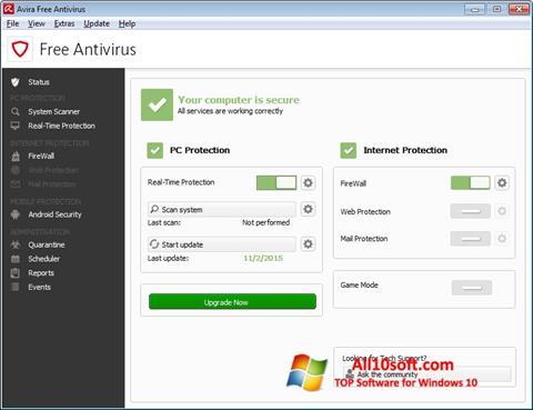 Capture d'écran Avira Free Antivirus pour Windows 10