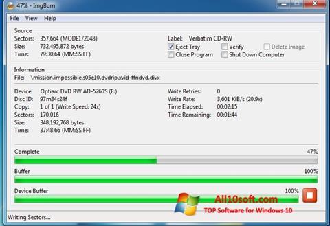 Capture d'écran ImgBurn pour Windows 10