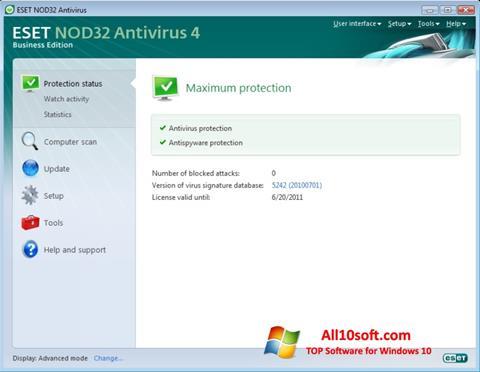 Capture d'écran ESET NOD32 pour Windows 10