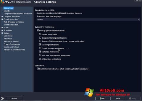 Capture d'écran AVG pour Windows 10