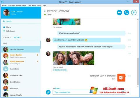 Capture d'écran Skype pour Windows 10