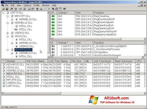 Capture d'écran Dependency Walker pour Windows 10